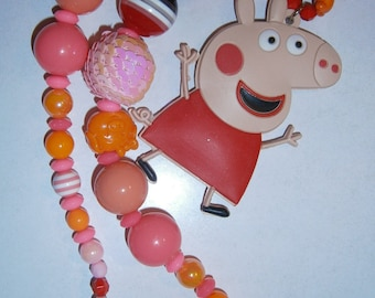 Peppa pig,Chunky Necklace, Little Girls Chunky Necklace, Girls Bubblegum Necklace, Chuncky Necklace, Children Necklace, Baby Necklace
