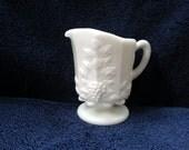 Westmoreland milk glass cream or milk pitcher paneled grape pattern
