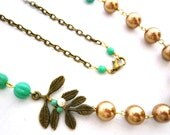 Gold and Mint Wedding Necklace, Mint Bridal Wedding Jewelry, Flower, Botanical Leafy Necklace, Gold and Mint Weddings