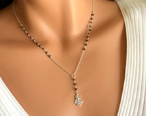 Petite Sterling Silver Hamsa Necklace Pyrite Gemstone Women Cross Pendant  Jewish Kabbalah Rosary Style