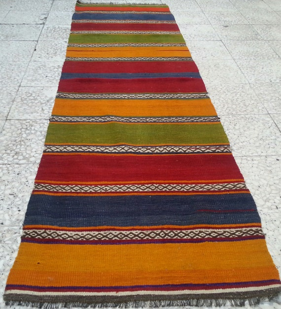 Items Similar To MULTICOLOR Striped Turkish Kilim Rug