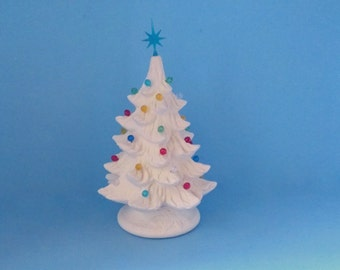 Small Ready to Paint Ceramic Christmas Tree - 7 inches with base-hand made Pine tree with light kit