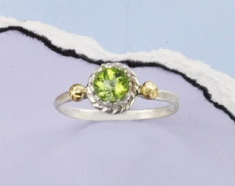 Peridot Silver Ring, Peridot and Sterling Silver Ring, 14K Gold Accents, Peridot, Checkerboard Peridot, August Birthstone Ring, 925 and Gold
