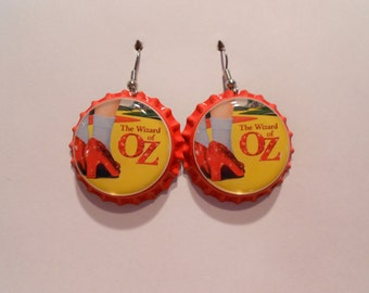 Wizard of Oz bottle cap earrings