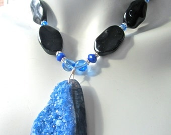 Chunky Statement Necklace, Druzy Necklace, Huge Blue Agate Druzy Pendant, Black Onyx, Big and Bold  436