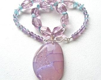 Druzy Statement Necklace, Agate Druzy Pendant, Amethyst Nuggets, Aquamarine Gemstones, Natural Stone, Lavender Necklace    444