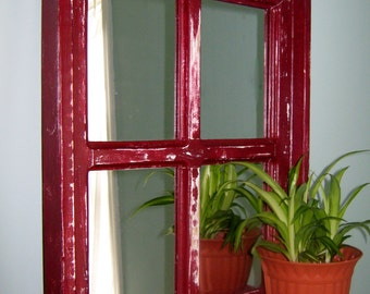 Red Mirror Mirrored Window French Country Mirror