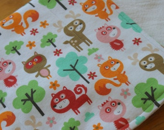 Burp Cloths Fox, Owl, Deer and Hedgehog Woodland Forest Baby Animals Gender Neutral Cloth Diaper Burp Cloths Baby Shower Gift Set of 2