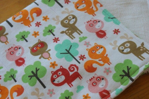 Burp Cloths Fox Owl Deer and Hedgehog Woodland Forest Baby