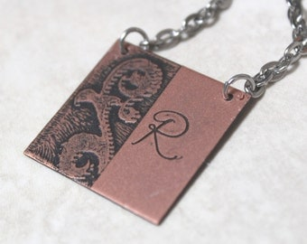 Copper initial necklace