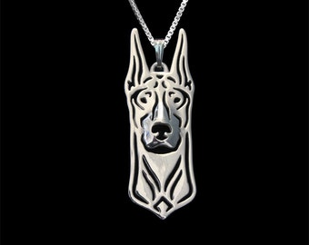 Doberman jewelry - sterling silver pendant and necklace