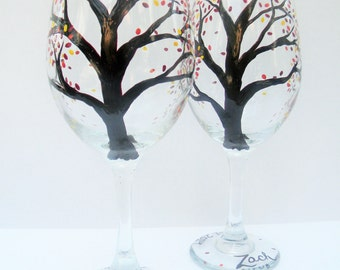 Hand Painted Wine Glasses - Fall Leaves