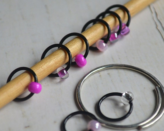 Cherry Blossoms / Stitch Markers - Dangle Free Snag Free Knitting Stitch Markers - Small Medium Large Sizes Available