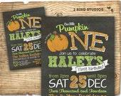 Our little pumpkin birthday party - Pumpkin birthday invitation - chalkboard invitation- little pumpkin party - printable pumpkin invitatio