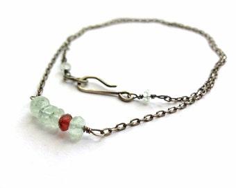 Dainty Silver Aqua Red Necklace Gemstone Bar Necklace Oxidized Sterling Silver Precious Gemstones Aquamarine Garnet Minimalist Feminine
