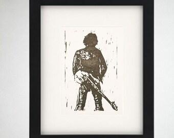 Bruce Springsteen linocut print