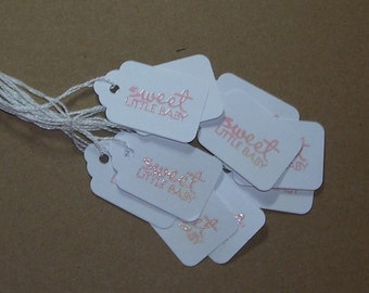 Set of 10 Baby Shower Party Favor or Gift Tags, Handmade, Stamped