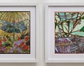 """Dragonfly Art Nouveau 2 Print Set - 8.5"""" x 11"""" - Kitchen Art Decor - Nursery Wall Art"""