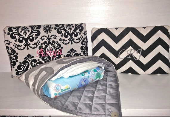 Personalized Envelope Pouch.  Diaper & Wipe Carry Case.  Make Up Bag.  Jewelry Pouch.  Clutch.