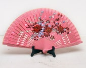Pretty Girl Pink Painted Floral Hand Fan