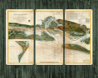 "Vintage Map of Beaufort Harbor METAL triptych 36x24"" FREE SHIPPING"