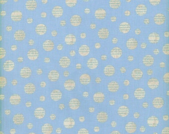 Circles and Text in Blue from Adventures by Stephanie Wright/RJR Fabrics