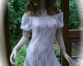 Fitted Babydoll Off the Shoulder Nightgown in White Stretch Lace and Puffed Sleeves