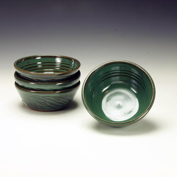 Pottery bowls. Set of 4.  Dessert bowls.  Cereal bowls.  Soup bowls.  Green stoneware pottery bowl set. Ready to ship.
