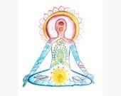 Meditation abstract original watercolor painting, Yoga Art