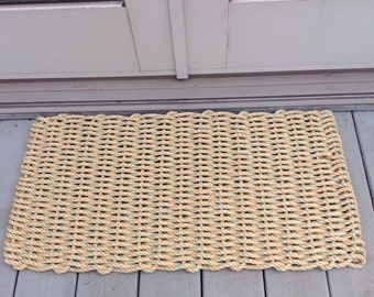 Tan with aqua specs doormat handwoven from lobster trap rope