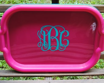 Personalized Monogrammed Serving Tray in Pink  with your choice of font