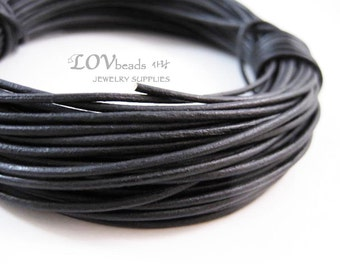 Natural Round Leather, Antique Black Leather Cord, natural dye, 1mm cord