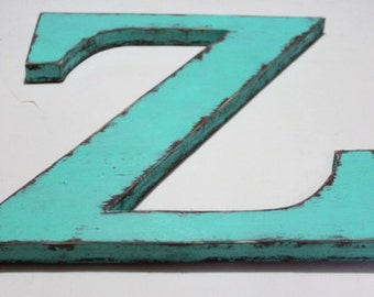 "Wooden letter ""Z"", alphabet letters, shabby chic, 12 inch, nursery letters,  distressed, vintage, cottage decor, painted Aqua Blue"