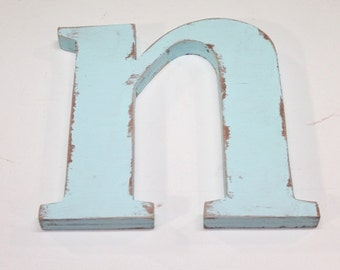 """Wood letter """"n"""" 12 inch,lower case, nursery decor, alphabet letters, vintage, rustic, cottage chic, wooden letters painted Baby Blue"""