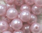 Beads Plastic Pink 11mm Round 20 pcs pearl-shell Beads white