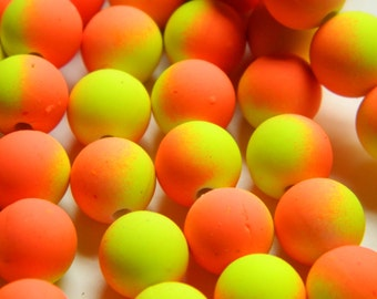 40 Neon Orange Yellow Acrylic 10mm Beads, Basketball Wives Matte, Neon