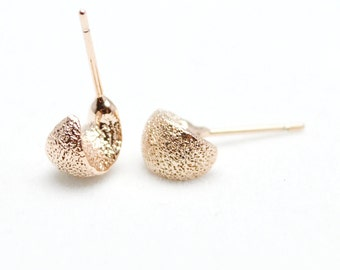 14K Rose Gold Plated Frosted Moon Studs