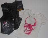 Girls Biker Vest / HALO ANGELS with Onesie or T-shirt  MotorCycle Club