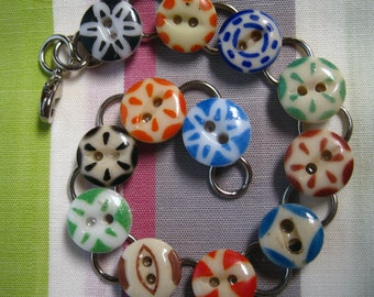 Vintage China Stencil Button Bracelet