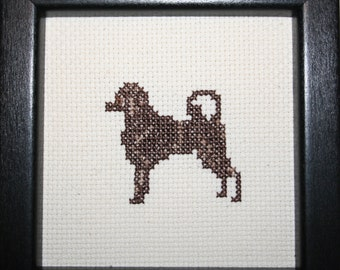 Portugese Water Brown Cross Stitched Full Body Dog.