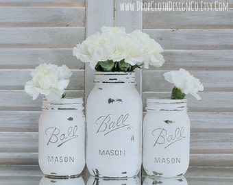 Painted Mason Jar - Annie Sloan Chalk Paint in Pure White