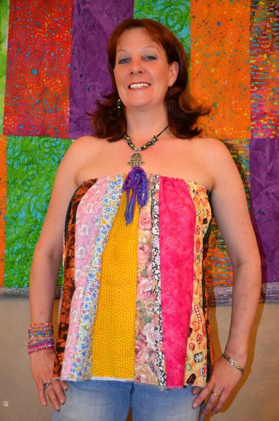 2 in 1 Gypsy Hippie Tube Top/ Mini Skirt