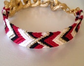 49's inspired red, black, white, and gold X chunky chain Friendship Bracelet