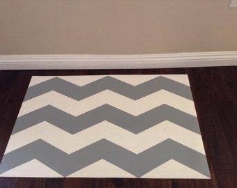 Hand Painted Vinyl Floor Mat. Grey and White Chevron.