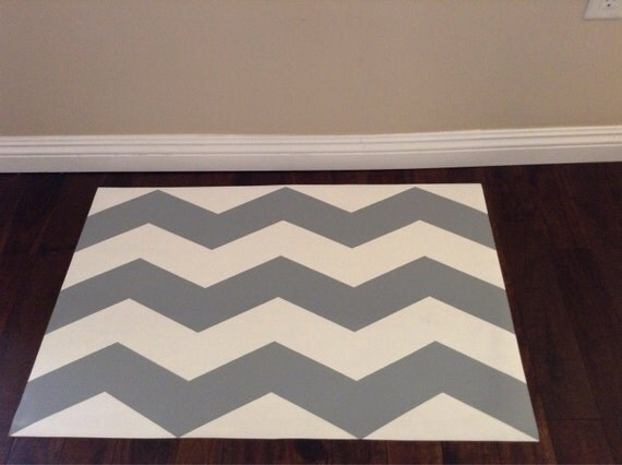 Hand Painted Vinyl Floor Mat. Grey and White Chevron.
