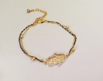 Gold Hamsa Hand Bracelet, Gold Anklet, Bridesmaid Gift, Gold Foot Jewelry, Rhinestone Hamsa, Fashion Accessory, Fatma's Hand Charm