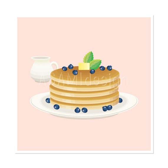 Pancake Clipart clip art blueberry pancake food by ASAMIdesign