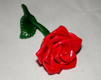 A Hand Made Polymer Clay Red Rose Figurine.