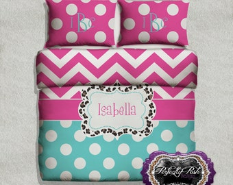 Chevron and Dot with Leopard  Bedding Custom Design and Personalized Comforter or Duvet with Monogram