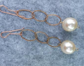 Delicate Copper Chain Dangles 16mm Pearls Dangle Earrings